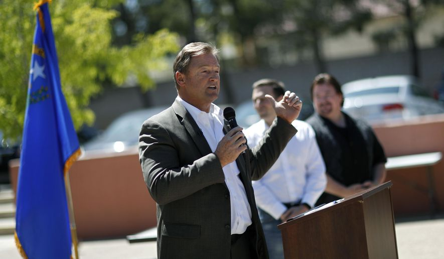 FILE- In this April 20, 2018, file photo, Sen. Dean Heller, R-Nev., speaks at a picnic for veterans in Las Vegas. Democrats hoping to take control of the U.S. Senate in November believe one of their best chances to pick up a seat this year lies in battleground Nevada, where Sen. Dean Heller is the only Republican running for re-election in a state that Democrat Hillary Clinton carried in 2016. (AP Photo/John Locher, File)