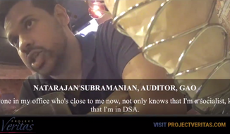 In a Project Veritas undercover video, Government Accountability Office auditor Natarajan Subramanian, a self-identified communist and member of the Democratic Socialists of America, said he works on Democratic Socialists of America projects during work hours as part of the anti-Trump resistance. (Screen grab via Project Veritas)
