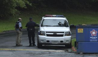 """Authorities respond to a shooting in Harford County, Md., on Thursday, Sept. 20, 2018.  Authorities say multiple people have been shot in northeast Maryland in what the FBI is describing as an """"active shooter situation."""" (Jerry Jackson /The Baltimore Sun via AP)"""