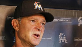 Miami Marlins manager Don Mattingly speaks with the press before a baseball game against the Cincinnati Reds in Miami, Thursday, Sept. 20, 2018. (AP Photo/Joe Skipper)