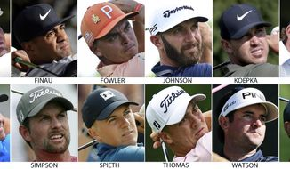 FILE - These are 2018 file photos showing members of the United States Ryder Cup team. They are Bryson Dechambeau, Tony Finau, Rickie Fowler, Dustin Johnson, Brooks Koepka, Phil Mickelson, Patrick Reed, Webb Simpson, Jordan Spieth, Justin Thomas, Bubba Watson and Tiger Woods. (AP Photo/File)