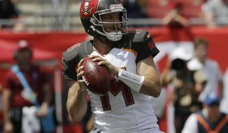 FILE - In this Sunday, Sept. 16, 2018 file photo, Tampa Bay Buccaneers quarterback Ryan Fitzpatrick (14) looks to pass during the first half of an NFL football against the Philadelphia Eagles in Tampa, Fla. So much for struggling without Jameis Winston. Ryan Fitzpatrick and a talented collection of playmakers that include DeSean Jackson, Mike Evans, O.J. Howard and Chris Godwin, the Bucs (2-0) are off to their best start in eight years and have the NFL's top-ranked offense. (AP Photo/Chris O'Meara, File)
