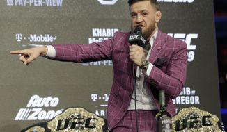 Conor McGregor participates in a news conference in New York, Thursday, Sept. 20, 2018. McGregor is returning to UFC after a two-year absence. He fights undefeated Khabib Nurmagomedov on Oct. 6. (AP Photo/Seth Wenig)
