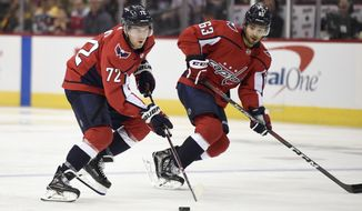 Washington Capitals center Travis Boyd (72) skates with the puck next to left wing Shane Gersich (63) during the third period of an NHL preseason hockey game against the Boston Bruins, Tuesday, Sept. 18, 2018, in Washington. The Bruins won 5-2. (AP Photo/Nick Wass) ** FILE **