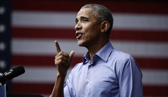 Former President Barack Obama speaks as he campaigns in support of Pennsylvania candidates in Philadelphia, Friday, Sept. 21, 2018. (AP Photo/Matt Rourke)