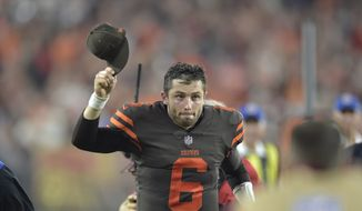 Cleveland Browns quarterback Baker Mayfield runs off the field after an NFL football game against the New York Jets, Thursday, Sept. 20, 2018, in Cleveland. The Browns won 21-17. (AP Photo/David Richard) **FILE**