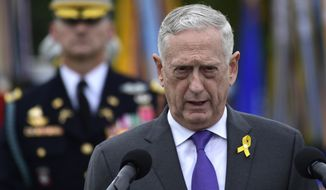 Defense Secretary Jim Mattis speaks during the 2018 POW/MIA National Recognition Day Ceremony at the Pentagon in Washington, Friday, Sept. 21, 2018. (AP Photo/Susan Walsh)