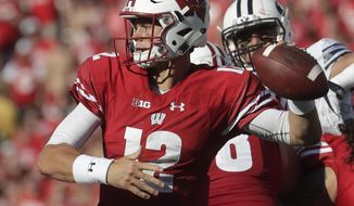Wisconsin's Alex Hornibrook throws during the second half of an NCAA college football game against BYU Saturday, Sept. 15, 2018, in Madison, Wis. BYU won 24-21. (AP Photo/Morry Gash)