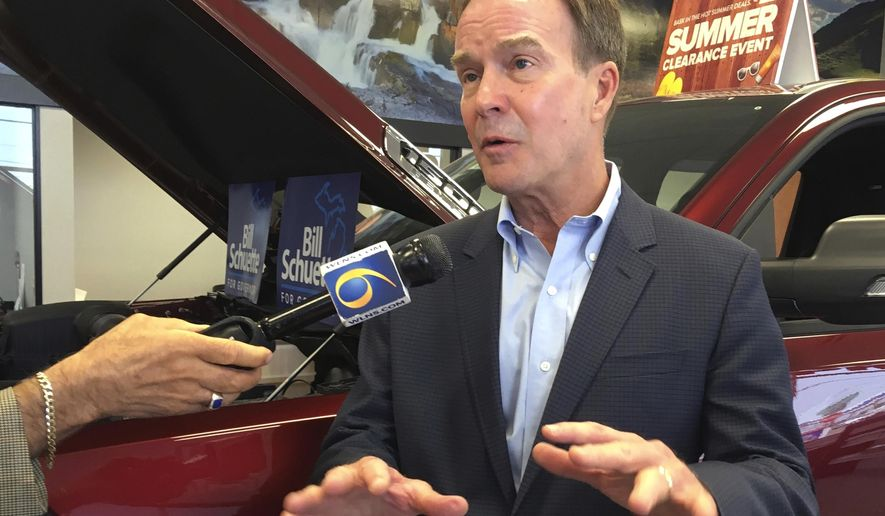 """FILE - In this july 31, 2018, file photo, Michigan Attorney General Bill Schuette, a Republican candidate for governor, speaks during a campaign stop at LaFontaine Chrysler Dodge Jeep Ram FIAT of Lansing, Mich. Schuette said Wednesday, Sept. 12, 2018, that Michigan's expansion of Medicaid coverage to hundreds of thousands of adults is not """"going anywhere"""" if he is elected governor and he would focus instead on implementing work requirements enacted earlier this year. (AP Photo/David Eggert, File)"""