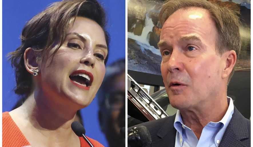 FILE - This combination of file photos shows Michigan gubernatorial candidates in the November election from left, Democrat Gretchen Whitmer and her Republican challenger Bill Schuette. Whitmer on Friday, Sept. 21, 2018, denied Republicans' allegation that as Ingham County's interim prosecutor two years ago, she refused to prosecute disgraced former sports doctor Larry Nassar for sexual assaults before the charges were brought by Michigan Attorney General Schuette, her GOP opponent in this year's race for governor. (AP Photo/File)