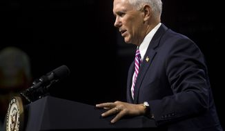 Vice President Mike Pence speaks at the American Conservative Union's CPAC/365 Knoxville event supporting Senate candidate Marsha Blackburn in Knoxville, Tenn., Friday, Sept. 21, 2018.  (Brianna Paciorka/Knoxville News Sentinel via AP)
