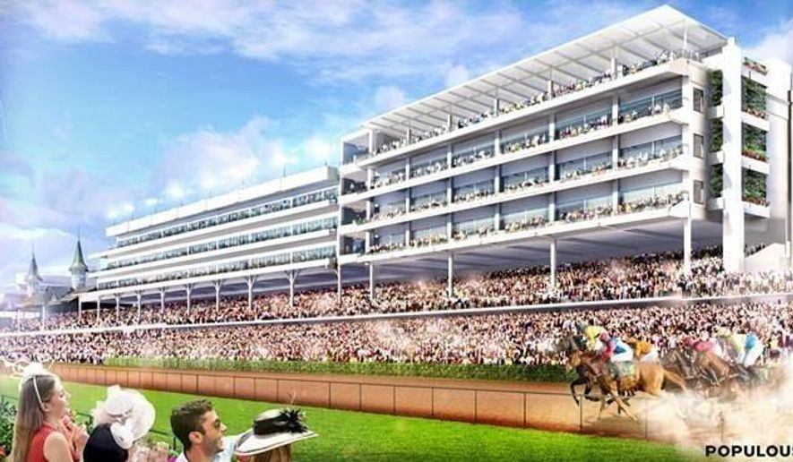 898c2a362f6d3 This artist rendering provided by Churchill Downs shows the infield view of  a rooftop lounge and garden, top right, at Churchill Downs in Louisville,  Ky.