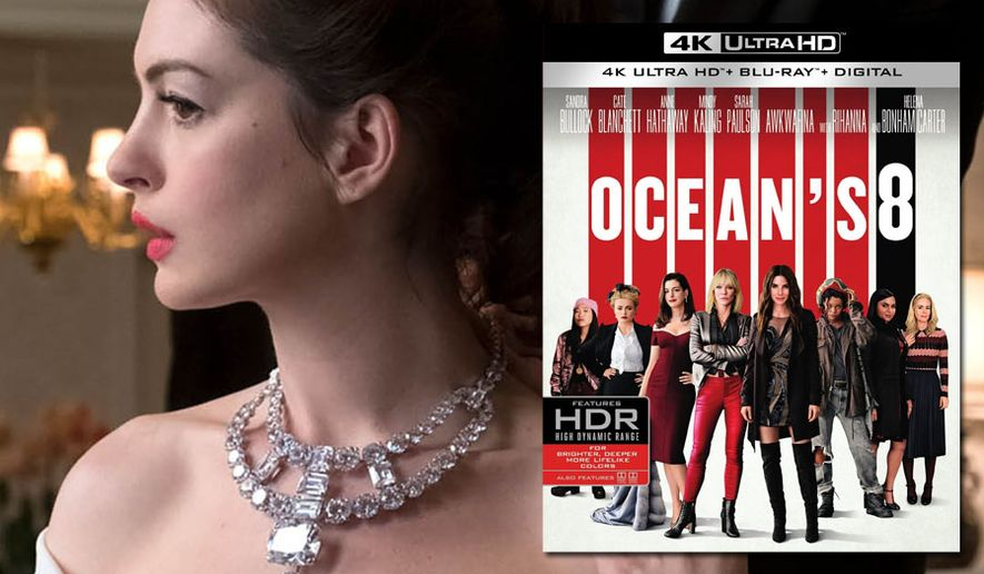 """Anne Hathaway and an expensive necklace co-star in """"Ocean's 8,"""" now available on 4K Ultra HD from Warner Bros. Home Entertainment."""