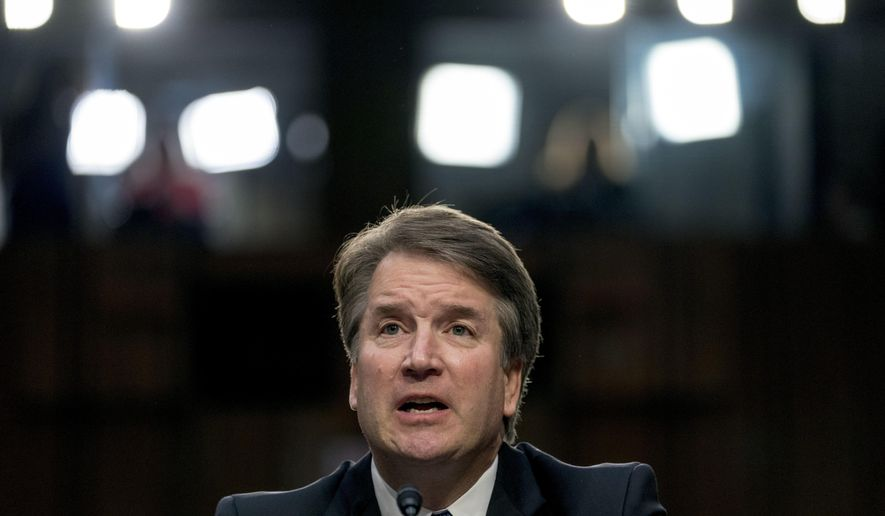 President Donald Trump's Supreme Court nominee, Brett Kavanaugh, a federal appeals court judge, speaks before the Senate Judiciary Committee on Capitol Hill in Washington, in this Sept. 4, 2018, file photo. (AP Photo/Andrew Harnik) ** FILE **