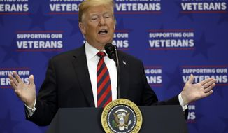 President Donald Trump speaks at a spending bill signing ceremony at VA Southern Nevada Healthcare System, Friday, Sept. 21, 2018, in Las Vegas. (AP Photo/Evan Vucci)