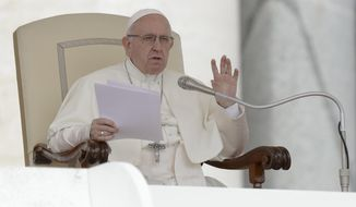 Pope Francis delivers his speech during his weekly general audience, in St. Peter's Square, at the Vatican, Wednesday, Sept. 19, 2018. (AP Photo/Andrew Medichini)