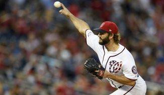 Washington Nationals relief pitcher Austen Williams delivers during the ninth inning of a baseball game against the New York Mets, Saturday, Sept. 22, 2018, in Washington. The Nationals won 6-0. (AP Photo/Nick Wass) ** FILE **
