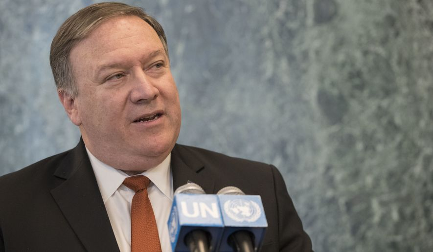 FILE - In this July 20, 2018 file photo, U. S. Secretary of State Mike Pompeo speaks to reporters at United Nations headquarters. Pompeo will preside over the second meeting Thursday, Sept. 27, 2018, on North Korea, an issue the Security Council was united on in imposing increasingly tough sanctions. (AP Photo/Mary Altaffer, File)