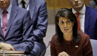 In this Sept. 21, 2017, file photo, U.S. United Nations Ambassador Nikki Haley address the United Nations Security Council, during the U.N. General Assembly, at U.N. headquarters. (AP Photo/Bebeto Matthews, File)