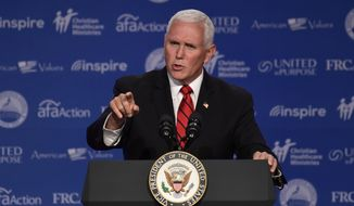 Vice President Mike Pence speaks at the 2018 Values Voter Summit in Washington, Saturday, Sept. 22, 2018. (AP Photo/Susan Walsh)