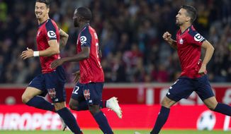Lille players celebrate after scoring during the French League One soccer match between Lille and Nantes at the Lille Metropole stadium, in Villeneuve d'Ascq, northern France, Saturday, Sept. 22, 2018. (AP Photo/Michel Spingler)