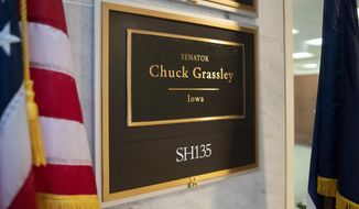 The office of Senate Judiciary Committee Chairman Chuck Grassley, R-Iowa, is seen on Capitol Hill in Washington, Friday, Sept. 21, 2018.  (AP Photo/J. Scott Applewhite)
