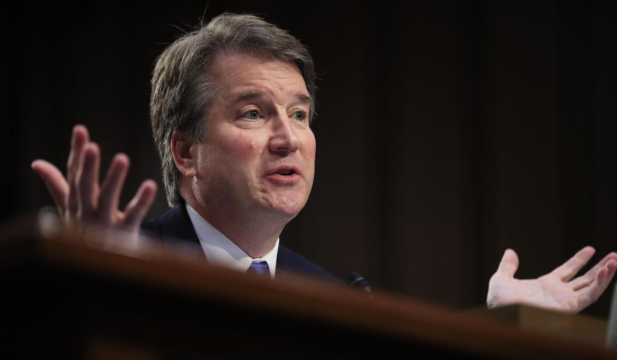 In this Sept. 5, 2018, photo, Supreme Court nominee Brett Kavanaugh testifies before the Senate Judiciary Committee on Capitol Hill in Washington. Combat won out over caution. White House aides and congressional allies worked all week to keep President Donald Trump from unloading on the woman who has accused Kavanaugh of sexual misconduct. (Associated Press) **FILE**