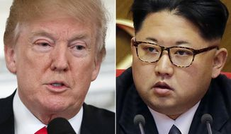 """FILE - This combination of two file photos shows U.S. President Donald Trump, left, speaking in the State Dining Room of the White House, in Washington on Feb. 26, 2018, and North Korean leader Kim Jong Un attending in the party congress in Pyongyang, North Korea on May 9, 2016. Kim Jong Un is """"Little Rocket Man"""" no more. In the year since Donald Trump's searing, debut UN speech fueled fears of nuclear conflict with North Korea, the two leaders have turned from threats to flattery. But as the U.S. president readies his second address to the world body, likely in Kim's absence, he'll have to address the elephant in the room _ North Korea's continuing reluctance to disarm. (AP Photo/Evan Vucci, Wong Maye-E, File)"""