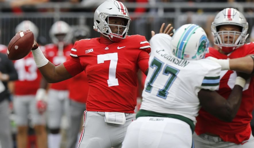 Ohio State quarterback Dwayne Haskins drops back to pass against Tulane during the first half of an NCAA college football game Saturday, Sept. 22, 2018, in Columbus, Ohio. (AP Photo/Jay LaPrete)