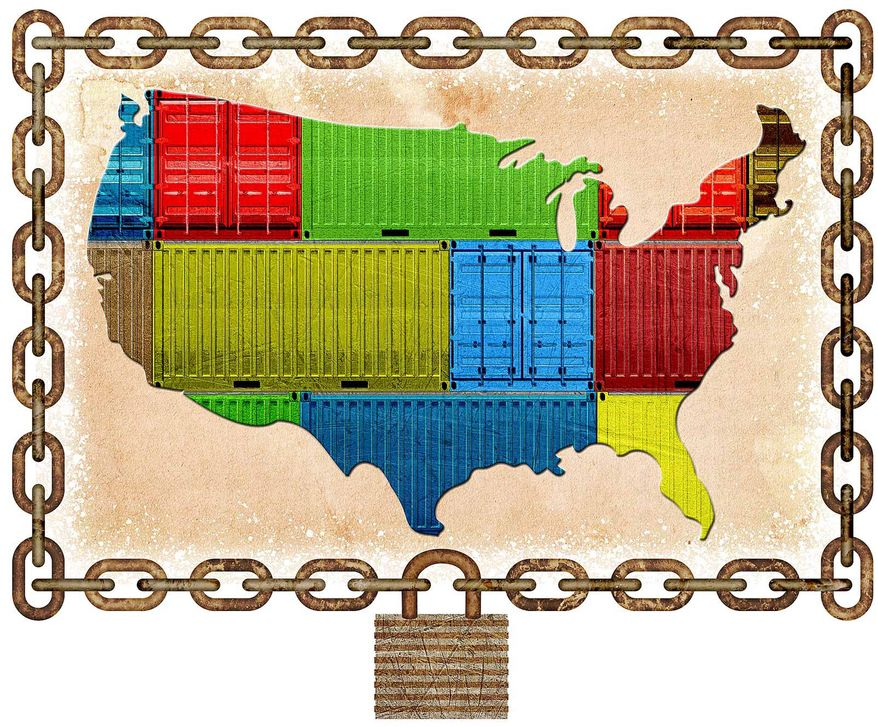 Isolated US Trade Illustration by Greg Groesch/The Washington Times