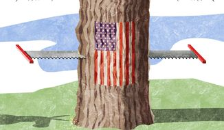 Illustration on which side is more responsible for national polarization by Alexander Hunter/The Washington Times