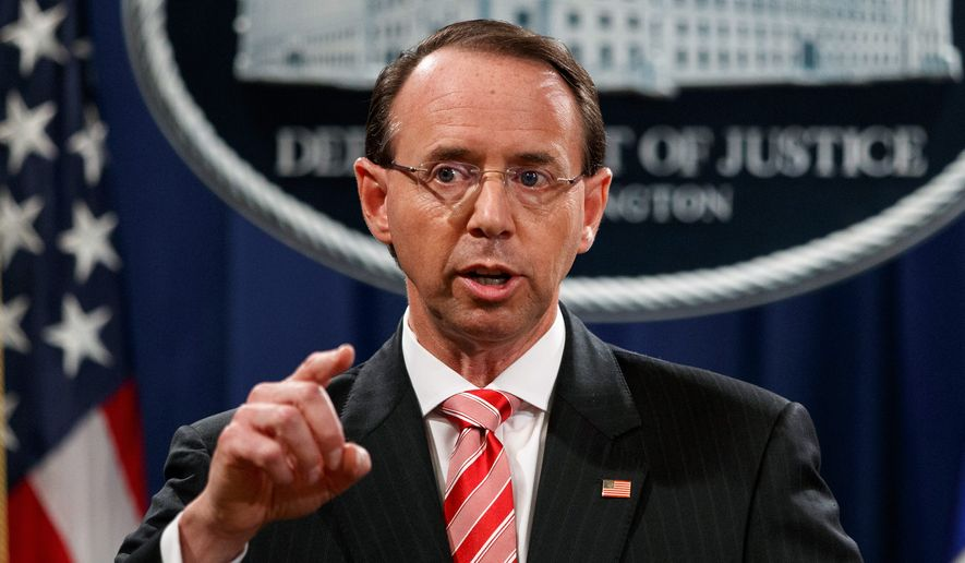 In this July 13, 2018, file photo, Deputy Attorney General Rod Rosenstein speaks during a news conference at the Department of Justice in Washington. (AP Photo/Evan Vucci, File)