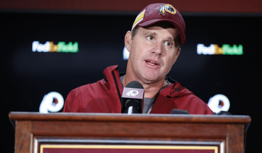 Washington Redskins head coach Jay Gruden answers questions during a press conference after an NFL football game between the Washington Redskins and the Green Bay Packers, Sunday, Sept. 23, 2018 in Landover, Md. The Redskins defeated the Packers 31-17. (AP Photo/Alex Brandon) **FILE**