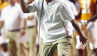 Tennessee head coach Jeremy Pruitt reacts to a play in the second half of an NCAA college football game against Florida, Saturday, Sept. 22, 2018, in Knoxville, Tenn. (AP Photo/Wade Payne)