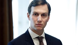 In this Sept. 12, 2017, file photo, White House Senior Adviser Jared Kushner listens as President Donald Trump speaks during a meeting in the Cabinet Room of the White House in Washington. (AP Photo/Alex Brandon, File)