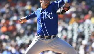 Kansas City Royals starting pitcher Brad Keller throws against the Detroit Tigers during the first inning of a baseball game in Detroit, Sunday, Sept. 23, 2018. (AP Photo/Jose Juarez)