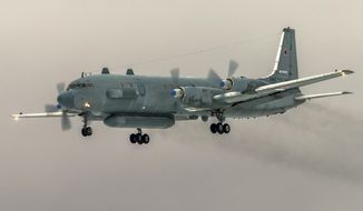 A Russian Il-20 electronic intelligence plane was accidentally downed by Syrian forces responding to an Israeli airstrike on Sunday. (Associated Press/File)