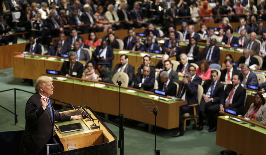 FILE - In this Sept. 19, 2017, file photo, President Donald Trump speaks during the United Nations General Assembly at U.N. headquarters. When Trump makes his second address to the United Nations _ and wields the Security Council gavel for the first time _  he will face leaders of a global order he upended in the last 12 months by pulling out of the Iran deal, embracing Russia and alienating longtime Western allies over trade and defense spending. (AP Photo/Seth Wenig, File)