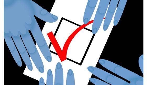 Illustration on vote tampering by Alexander Hunter/The Washington Times