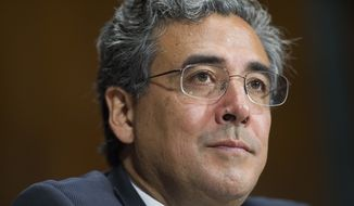 Solicitor General nominee Noel Francisco testifies before the Senate Judiciary Committee's hearing on his nomination, on Capitol Hill in Washington, Wednesday, May 10, 2017. (AP Photo/Cliff Owen) ** FILE **