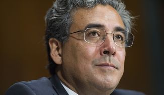 Solicitor General nominee Noel Francisco testifies before the Senate Judiciary Committee's hearing on his nomination, on Capitol Hill in Washington, Wednesday, May 10, 2017. (AP Photo/Cliff Owen)