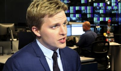 Ronan Farrow, a contributing writer for the New Yorker, speaks with reporters at Associated Press headquarters in New York, Friday, July 27, 2018. Farrow, who wrote a Pulitzer Prize-winning story for the New Yorker on the sexual misconduct allegations against media mogul Harvey Weinstein, has written a similar story for the magazine on CBS Chief Executive, Les Moonves. (AP Photo/Ted Shaffrey)