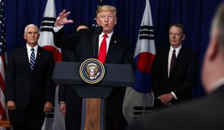 President Donald Trump speaks during a signing ceremony for the United States-Korea Free Trade Agreement at the Lotte New York Palace hotel during the United Nations General Assembly, Monday, Sept. 24, 2018, in New York. (AP Photo/Evan Vucci)