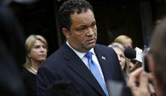 Maryland Democratic gubernatorial candidate Ben Jealous speaks with reporters after participating in a debate with Maryland Gov. Larry Hogan, Monday, Sept. 24, 2018, at Maryland Public Television's studios in Owings Mills, Md. (AP Photo/Patrick Semansky)
