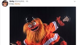 "Philadelphia Flyers mascot ""Gritty"" debuted on Sept. 24, 2018, and was greeted with a wave of negative social-media feedback. (Image: Twitter, GrittyNHL screenshot)"
