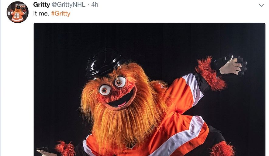 """Philadelphia Flyers mascot """"Gritty"""" debuted on Sept. 24, 2018, and was greeted with a wave of negative social-media feedback. (Image: Twitter, GrittyNHL screenshot)"""