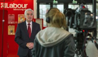 Britain's opposition Labour Party Chancellor of the Exchequer John McDonnell takes a breakfast television interview ahead of his scheduled speech later today at the Labour Party Conference in Liverpool, England, Monday Sept. 24, 2018.  The Labour Party confirms Monday it will hold a major debate on Britain's Brexit split from Europe Union at its party conference this week. (Peter Byrne/PA via AP)