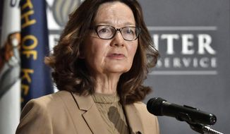 CIA Director Gina Haspel addresses the audience as part of the McConnell Center Distinguished Speaker Series at the University of Louisville, Monday, Sept. 24, 2018, in Louisville, Ky. (AP Photo/Timothy D. Easley)