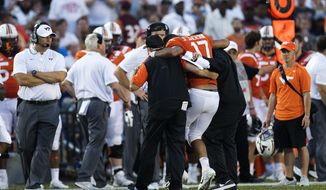Virginia Tech quarterback Josh Jackson is injured during the 2nd half of the game against Old Dominion University Saturday, Sept. 22, 2018 at ODU, at Old Dominion.   (L. Todd Spencer/The Virginian-Pilot via AP)
