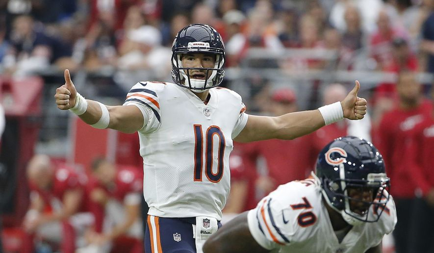 FILE - In this Sunday, Sept. 23, 2018, file photo, Chicago Bears quarterback Mitchell Trubisky signals during the second half of an NFL football game against the Arizona Cardinals, in Glendale, Ariz.  The Chicago Bears own sole possession of the NFC North lead for the first time since late in the 2013 season. (AP Photo/Rick Scuteri, File)